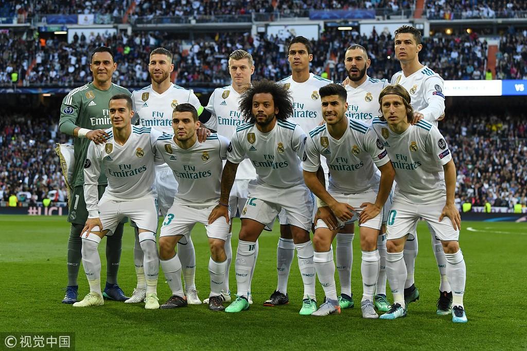 转载图片,这是半决赛第二回合皇马主场对阵拜仁的首发合影图片