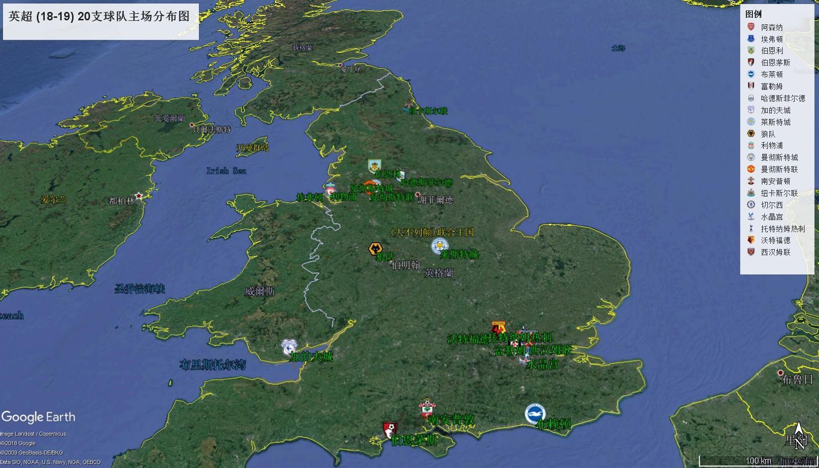 足球地理:18-19赛季五大联赛各足球队主场图