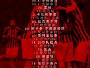 【AC米兰 vs 萨索洛】球队23人名单公布: