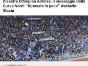 拉齐奥北看台球迷打出横幅,悼念埃塞俄比亚空难死者