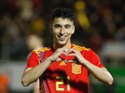 西班牙人中场马克-罗卡完成代表西班牙U21国家队首球