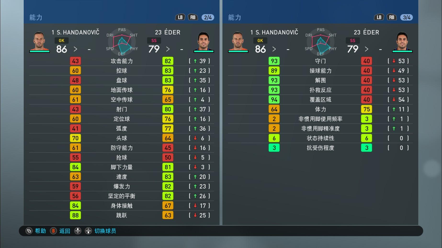 实况足球手游版OPR升降后球员各项能力值一