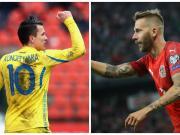 在本轮欧预赛中,两位皇家蓝球员都用进球成功帮助球...