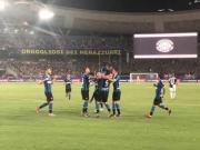 上半場比賽結束!國際米蘭在南京奧體中心1-0領先...