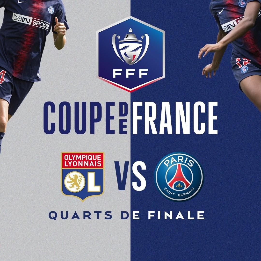 法国杯抽签出炉,大巴黎女足将在1/4决赛对阵里昂女足