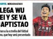 加盟西班牙人,武磊登上每日体育报头版