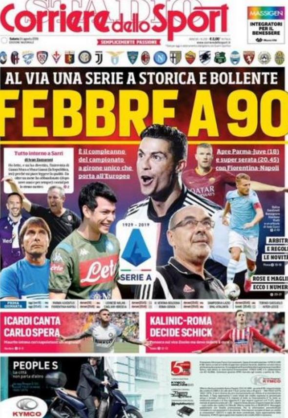 【封面】《罗马体育报》:90岁的意甲联赛从今天开...