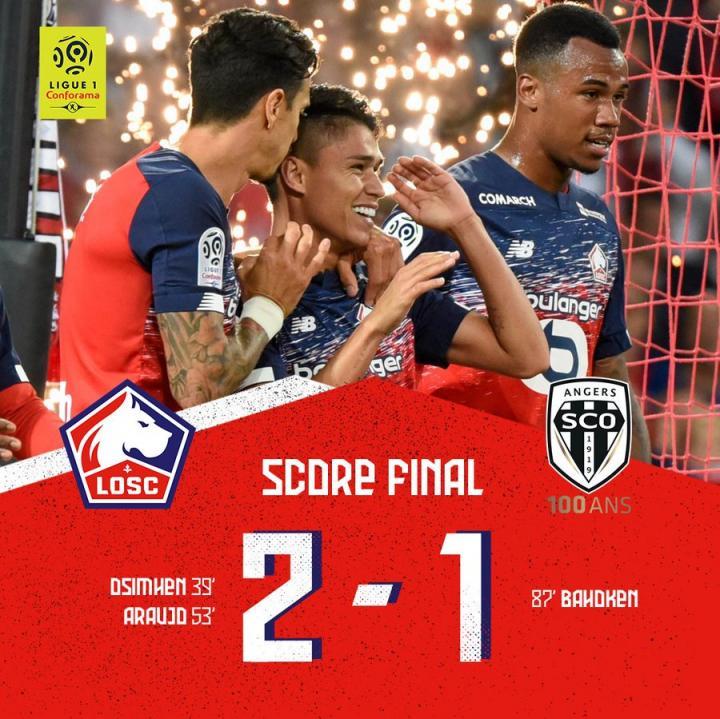 里尔2-1昂热主场三连胜,奥斯梅恩5场5球,阿劳霍建功