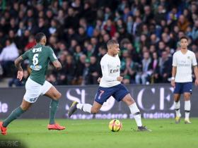 巴黎客场1-0圣埃蒂安,获各项赛事4连胜,姆巴佩制胜球