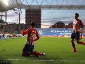 十人马竞客场2-0皇家社会,莫拉塔三分钟两粒头球,科克染红