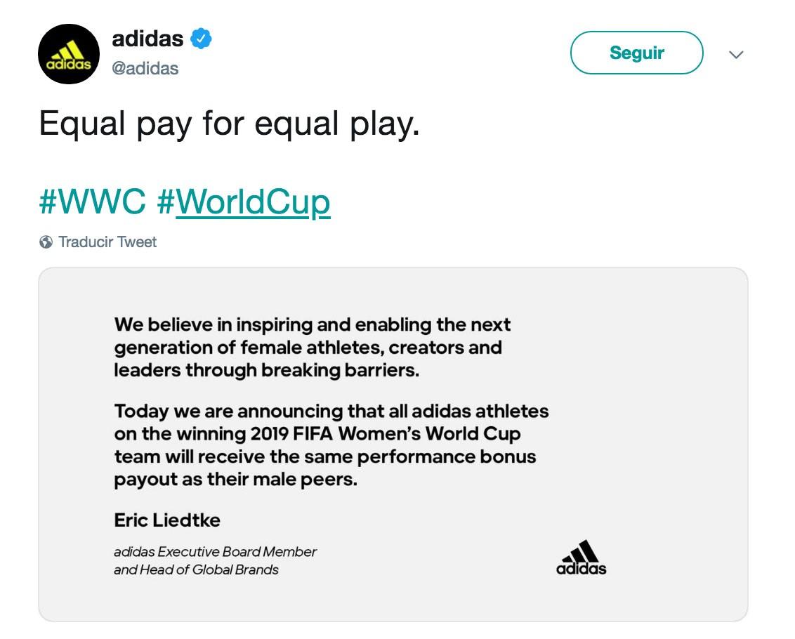 同工同酬,阿迪达斯宣布2019女足世界杯夺冠奖金将向男足看齐