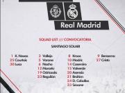 皇马联赛名单:锋线仅2人,伊斯科、贝尔、卡瓦哈尔等人缺席
