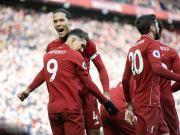 利物浦4-2逆转伯恩利距曼城1分,马内、菲尔米诺各入两球