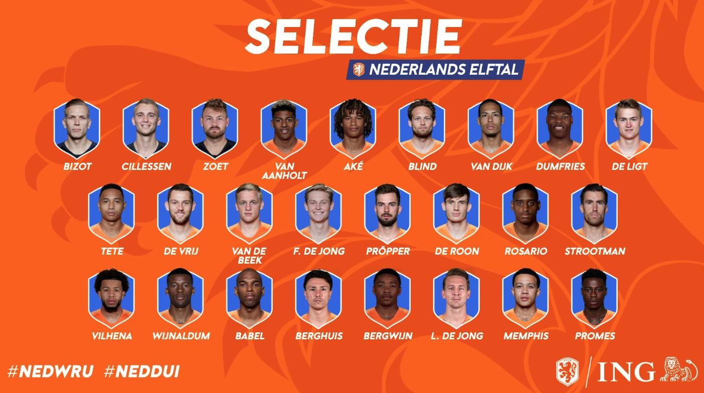 备战欧洲杯预选赛荷兰国家队公布最终25人名单