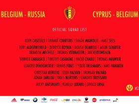 新一期比利时国家队名单:中超两将入选,德布劳内缺阵