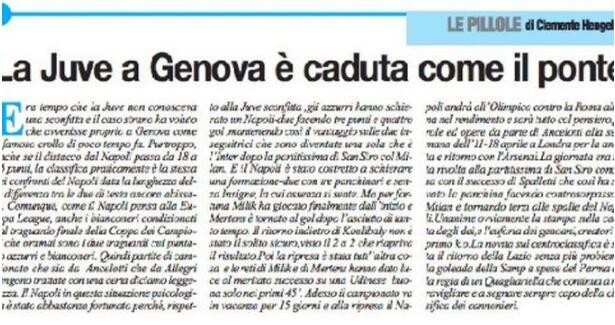 那不勒斯媒体报道引争议:尤文在热那亚坍塌,就像那大桥一样