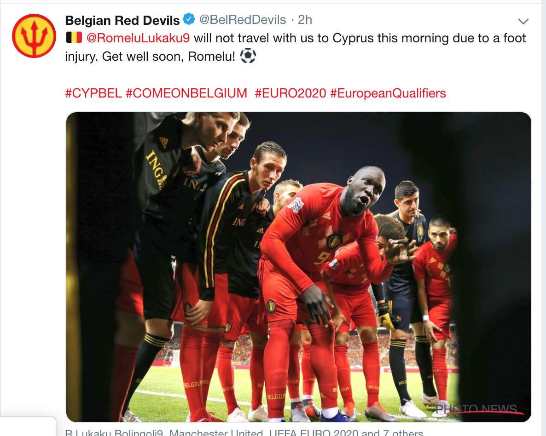比利时足协:卢卡库因脚部受伤无缘踢塞浦路斯