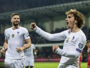 法国4-1摩尔多瓦,格列兹曼传射,瓦拉内、吉鲁