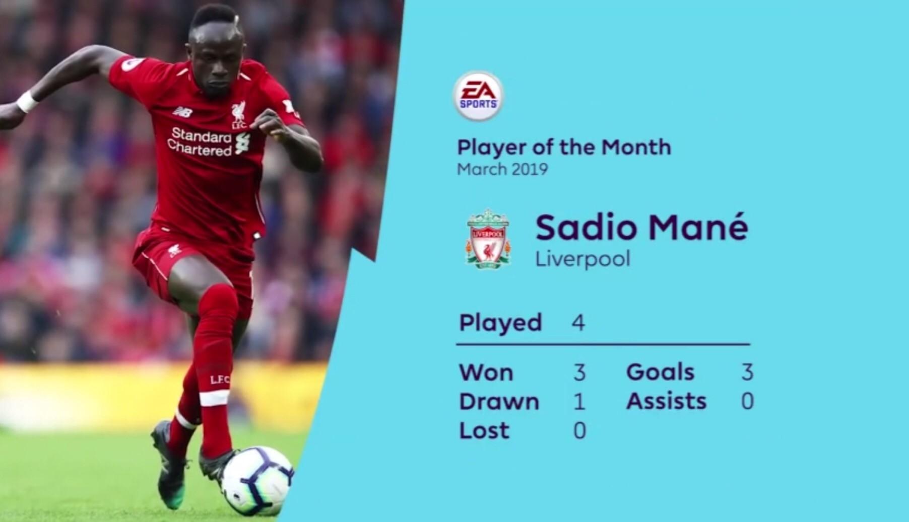 四场三球助红军取得3胜1平,马内当选英超三月最佳球员 — 利物浦