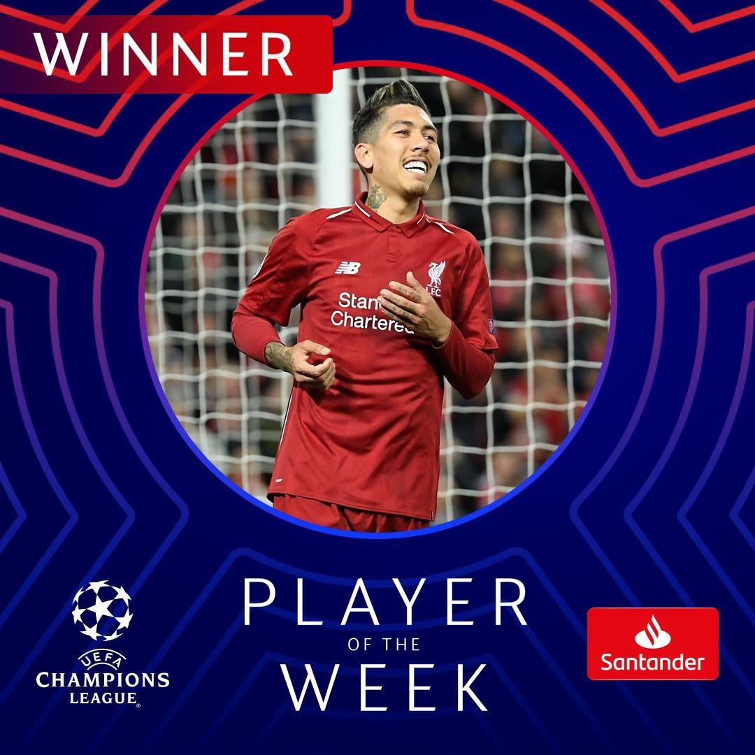一传一射闪耀全场,菲尔米诺当选本轮欧冠最佳球员 — 利物浦