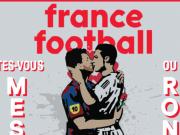 相愛相殺?《法國足球》新一期封面:梅羅深情擁吻