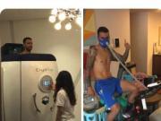 恢复体能,比埃拉在社交网络发布冰疗训练照