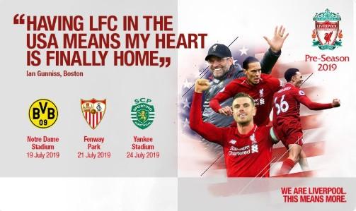 利物浦公布美国季前赛赛程:战多特、塞维利亚、葡萄牙体育
