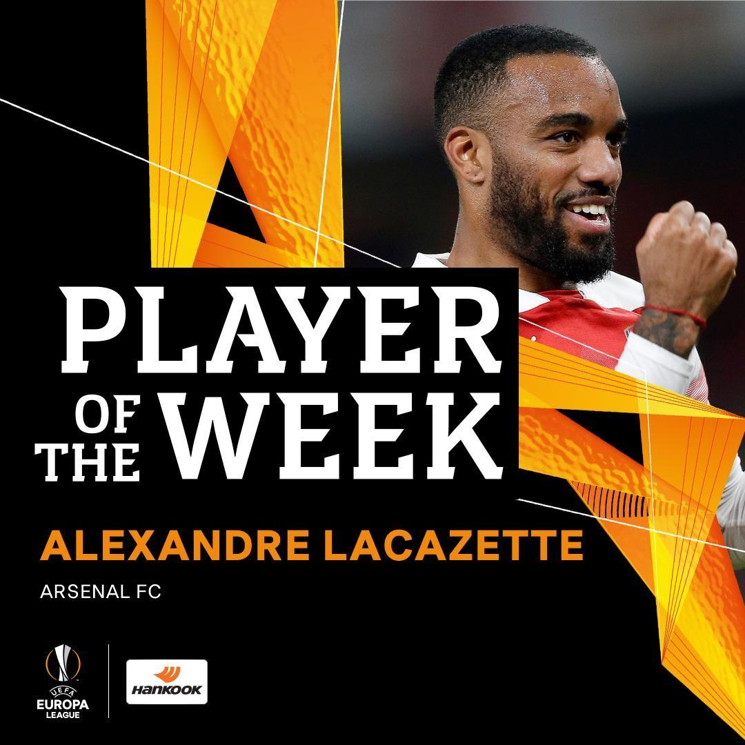 独中两元,拉卡泽特当选欧联杯本周最佳球员