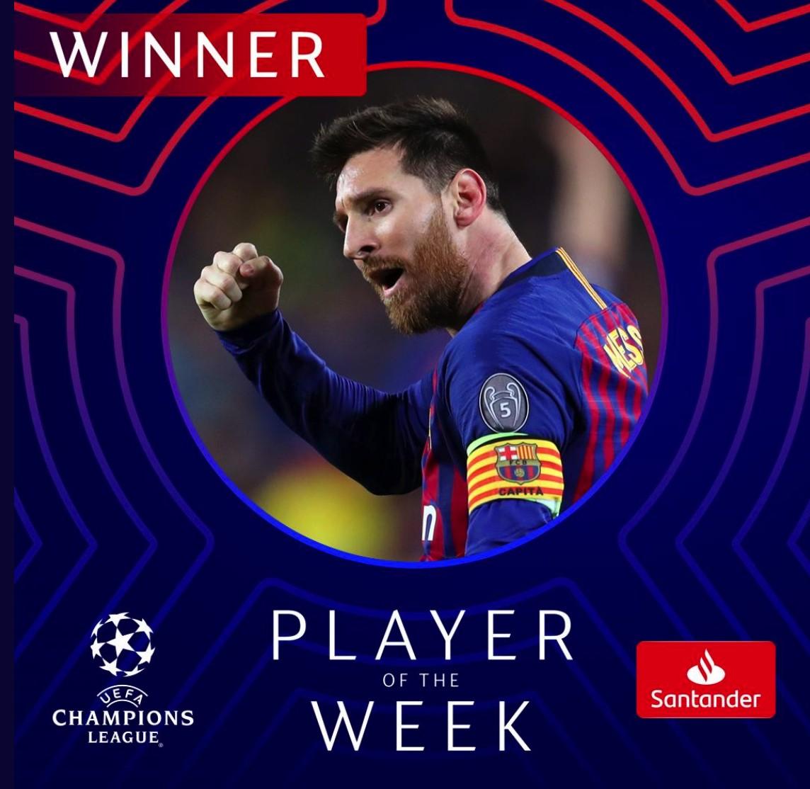 没有悬念梅西当选欧冠半决赛首回合最佳球员