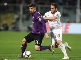 半场战报:佛罗伦萨0-1米兰,苏索助攻恰尔汗奥卢头球破门