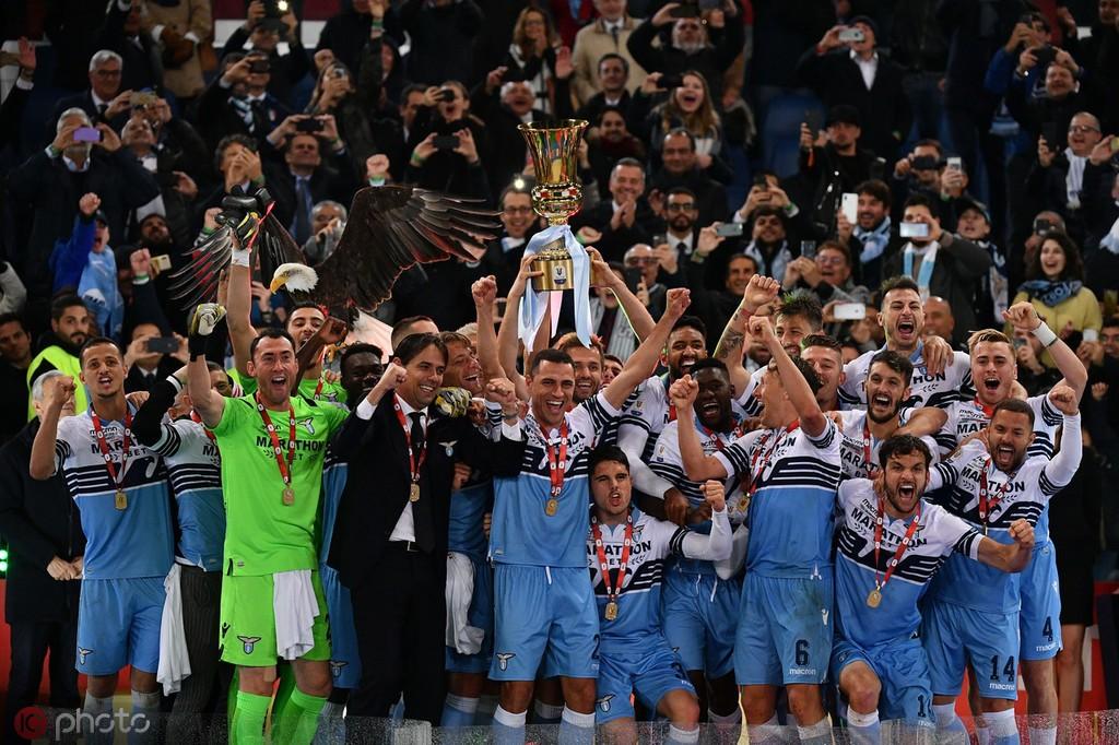 拉齐奥第7次捧起意大利杯冠军,仅次于尤文和罗马