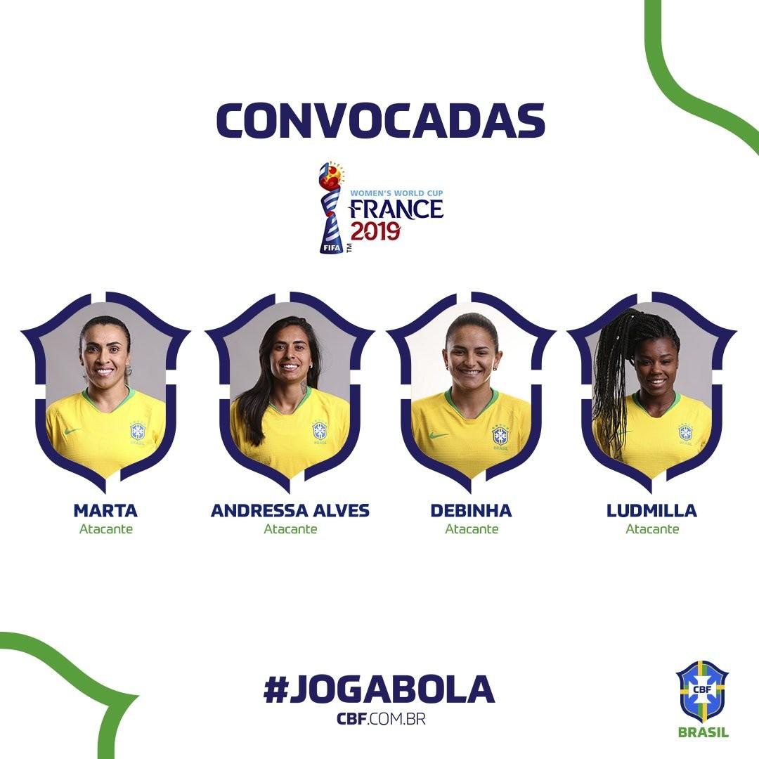 巴西女足世界杯大名单:6届世界足球小姐得主玛塔领衔