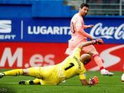 巴萨2-2埃瓦尔,梅西打入各项赛事第50球,西莱森失误遭吊射