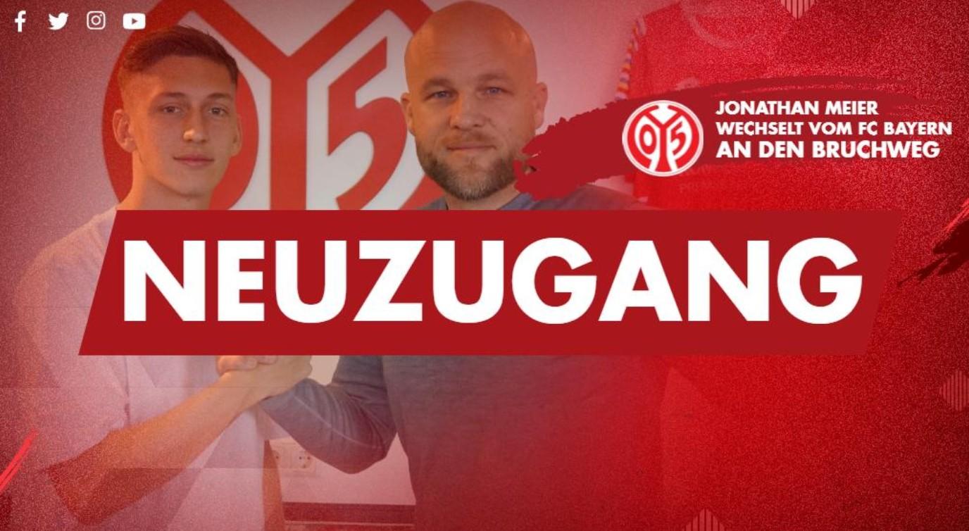 官方:美因茨签下拜仁慕尼黑年轻边卫约纳坦-迈尔