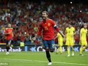 带刀后卫,拉莫斯打入个人在西班牙国家队的第20球