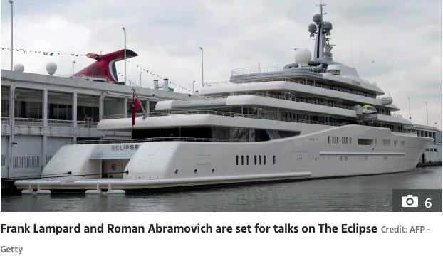 太阳报:阿布要和兰帕德在私人豪华游艇上会面商谈未来