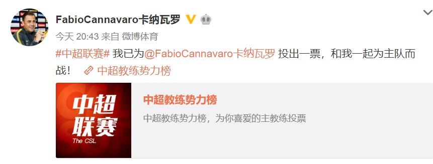 对自己工作满意,卡纳瓦罗微博上为自己投票