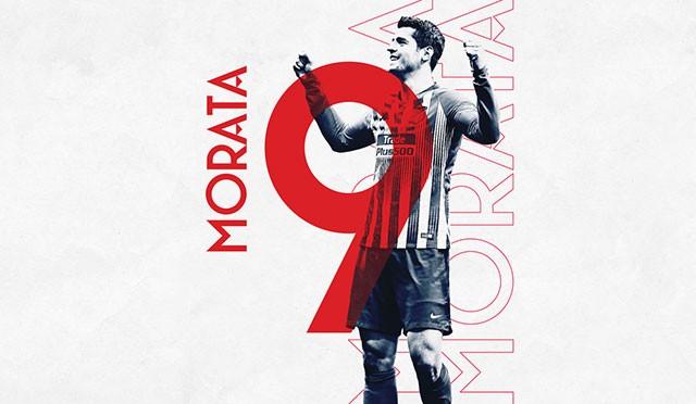 马竞官方:2019/20赛季莫拉塔将身披9号球衣