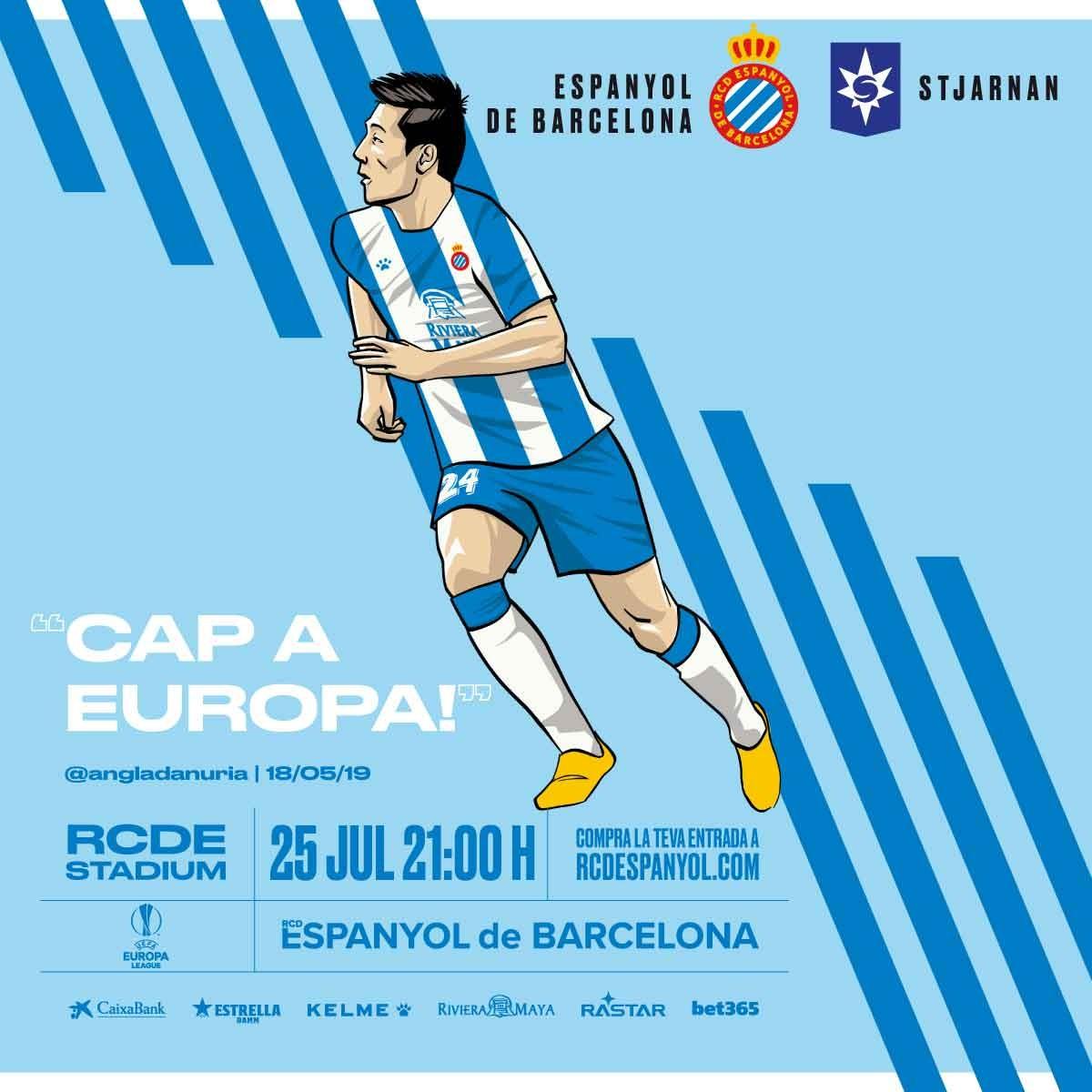西班牙人官方发布欧联杯资格赛海报:武磊成唯一主角