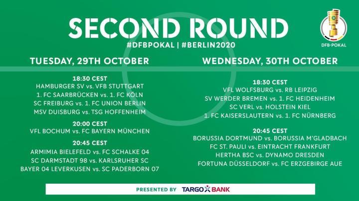 德国杯第二轮开始时间:拜仁10月30日战波鸿,多特31日战门兴