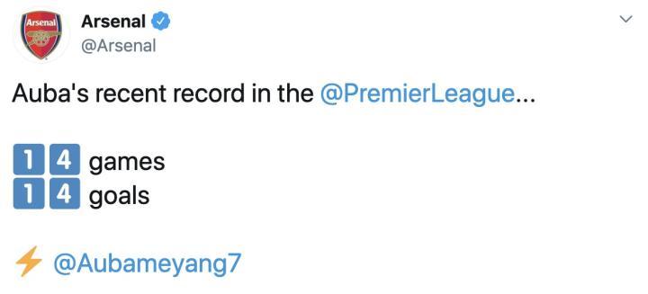 状态火热,奥巴梅扬最近14场英超联赛打入14球
