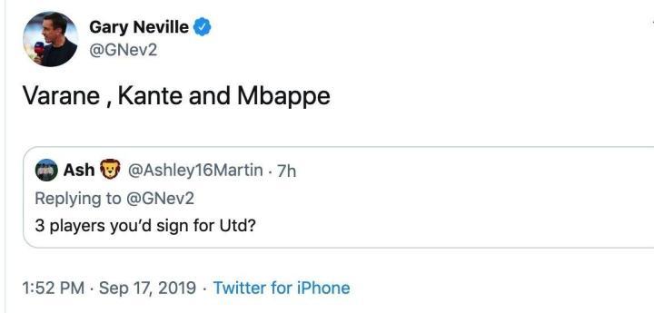 内维尔:要是我来操作曼联转会,我要签坎特、瓦拉内和姆巴佩