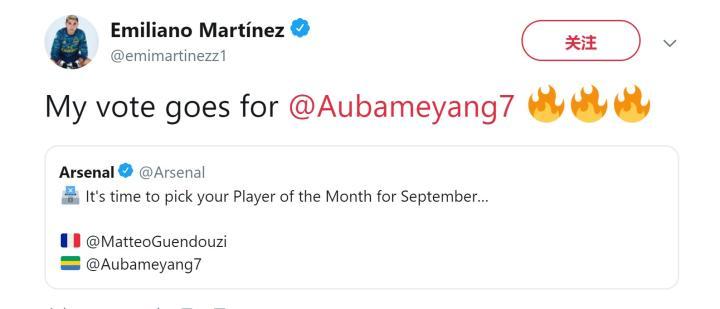 阿森纳队内9月最佳球员评选:达米安-马丁内斯支持奥巴梅扬