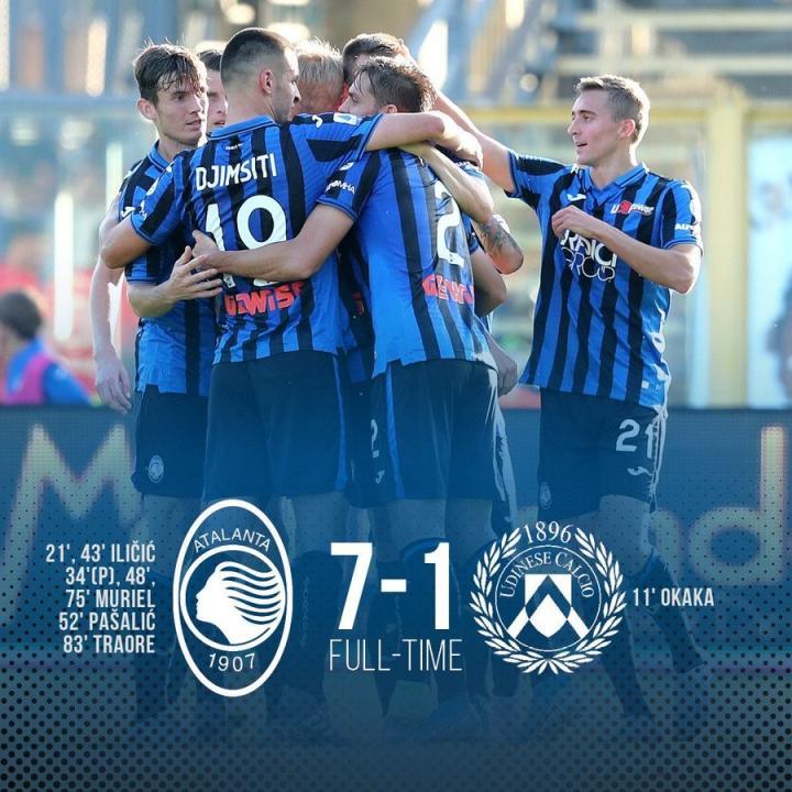 7-1大胜乌迪内斯,亚特兰大追平队史意甲最大比分胜利