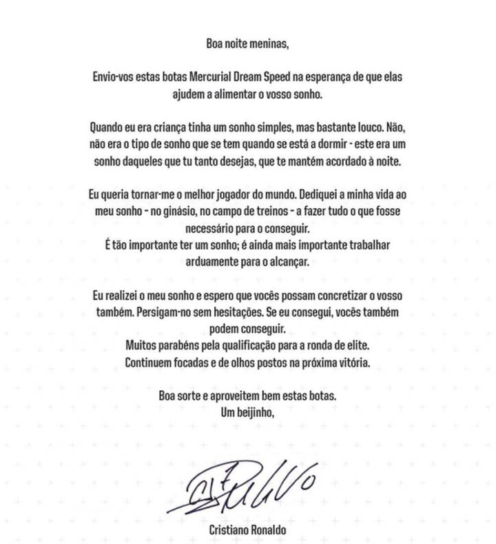 葡萄牙U17女足大战在即,C罗亲笔致函对其表示鼓励并赠送球鞋