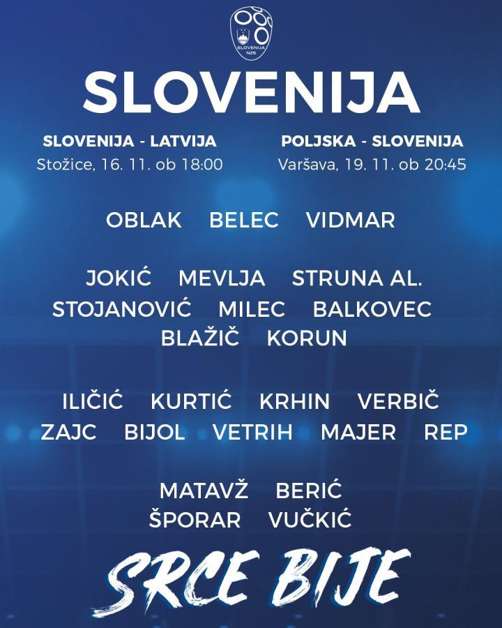斯洛文尼亚大名单:奥布拉克和伊利契奇领衔