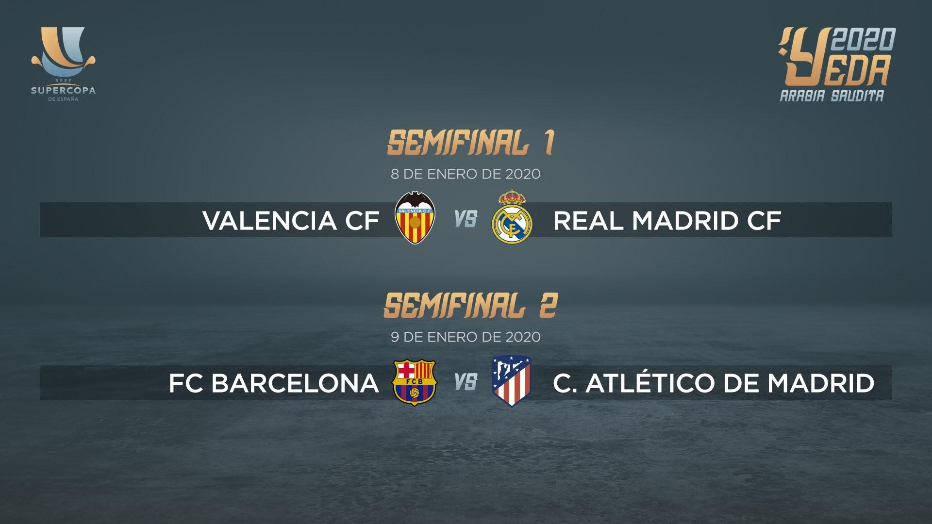 皇马对马竞 西班牙超级杯对阵出炉:瓦伦vs皇马,巴萨vs马竞