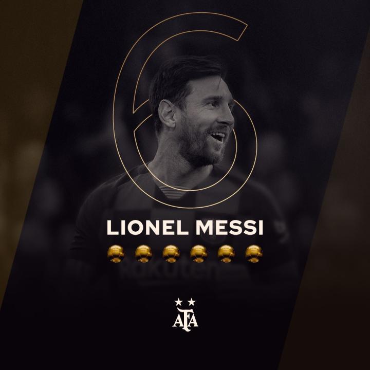 梅西6获金球奖创纪录,阿根廷国家队送上祝贺