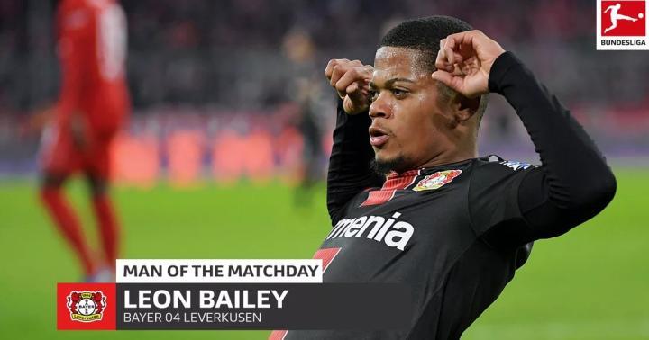 對陣拜仁梅開二度,勒沃庫森邊鋒貝利當選本輪德甲最佳球員