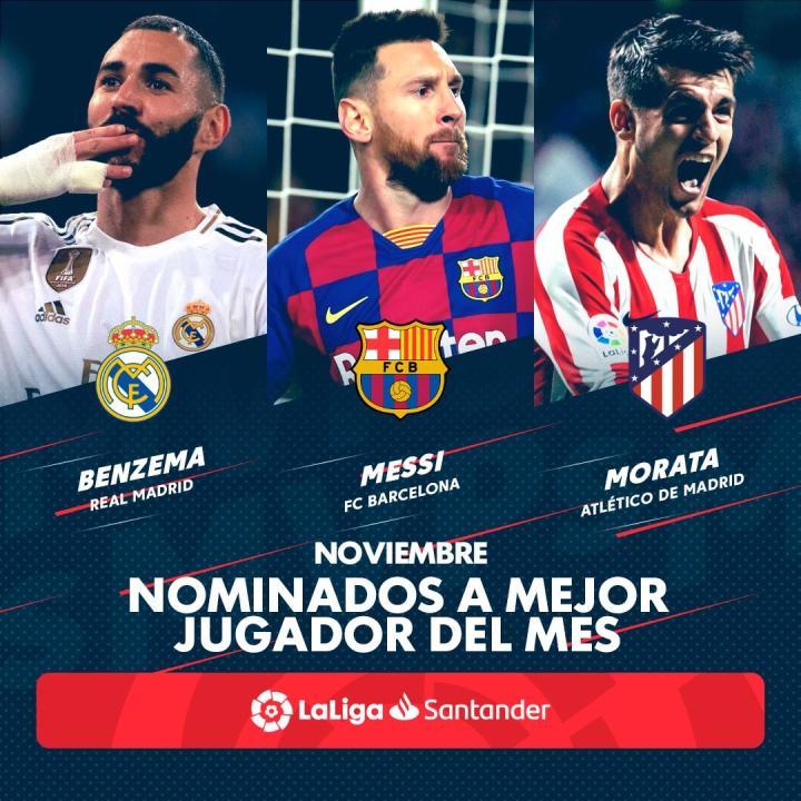 西甲11月最佳球员候选:本泽马、梅西、莫拉塔